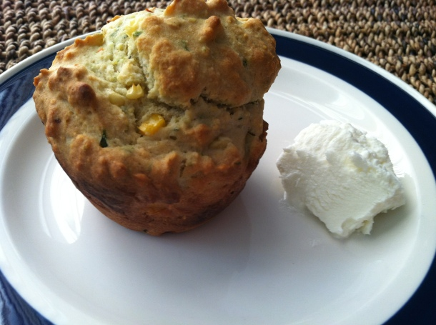 gluten-free basil goat cheese muffin